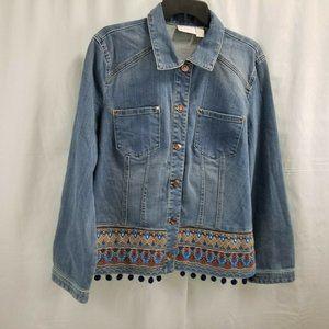 Chico's Women's Denim Jean Jacket Size 3 X-Large
